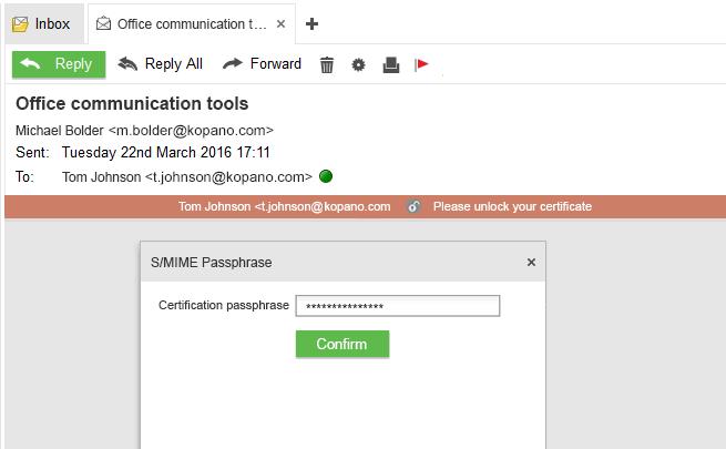 Kopano S-MIME password securit