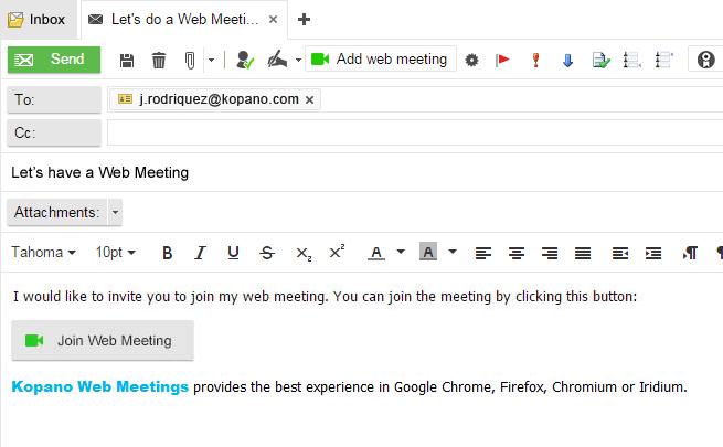 Email + external webmeeting