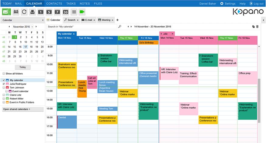 kopano-double-calendar