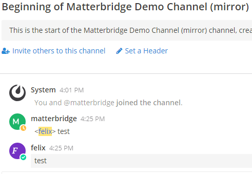 Matterbridge - Screenshot II
