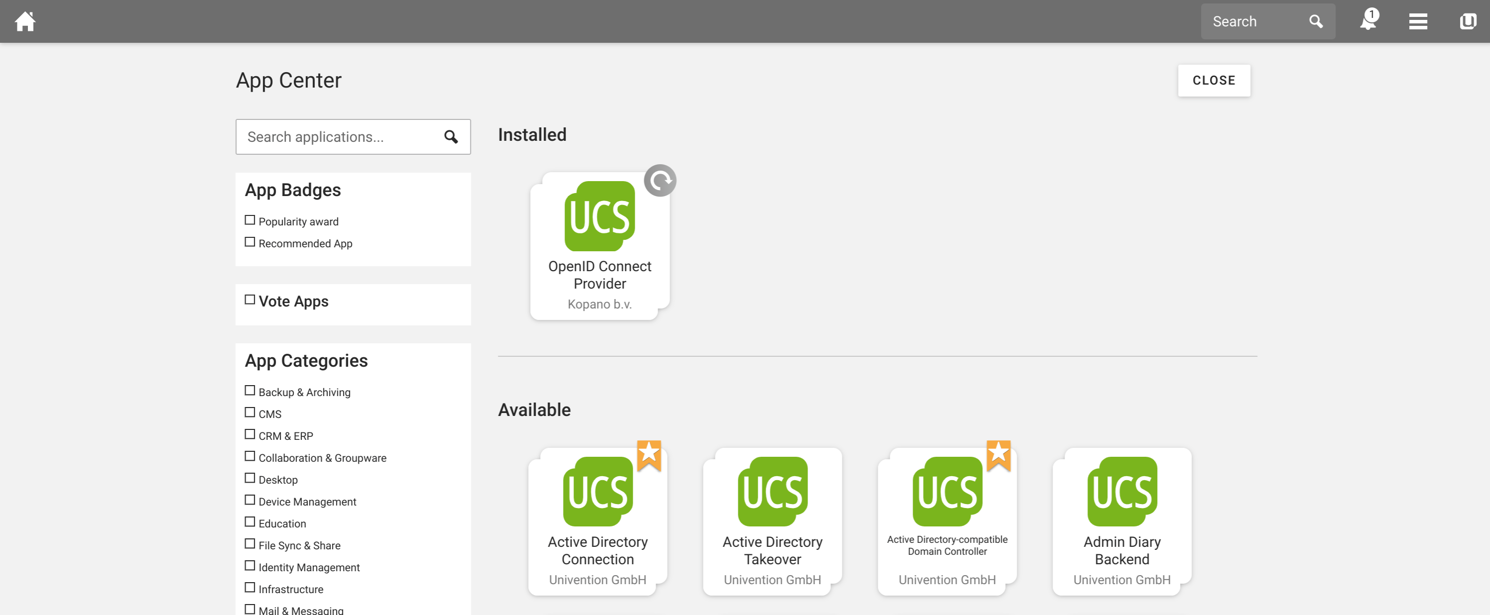 Univention Start Screen - Meet Videocalling on UCS
