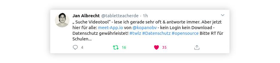 Tweet von Jan Alrecht: